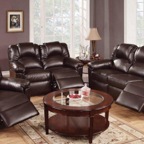 f6675 poundex espresso reclining leather set sofa