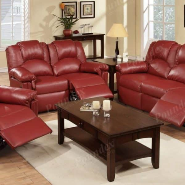 6678 red reclining leather sofa poundex
