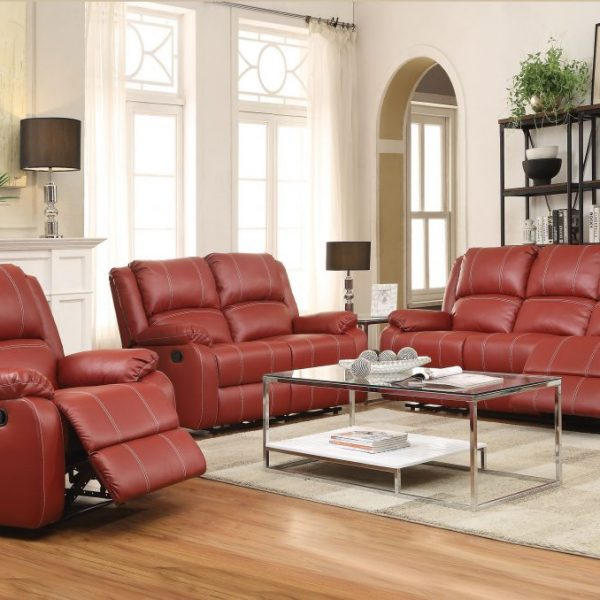 zuriel-52150, 52151, 52152 red reclining leather living room set leather sofa