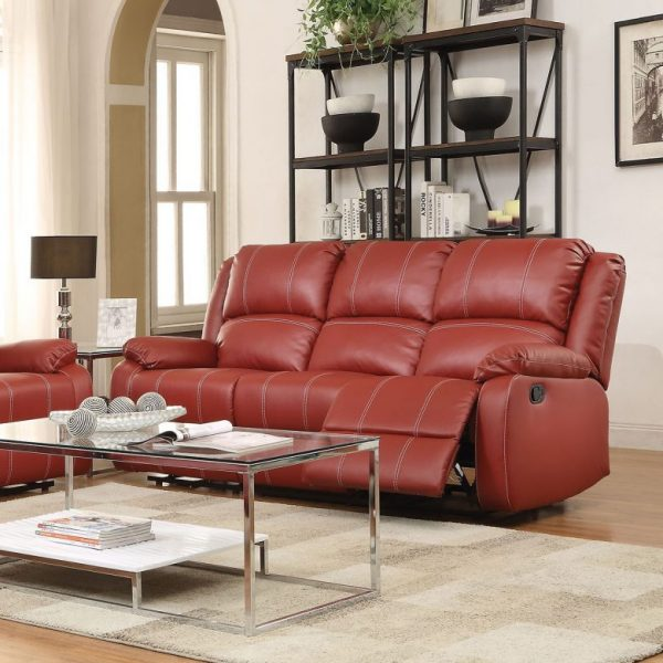 zuriel-52150 red reclining leather sofa