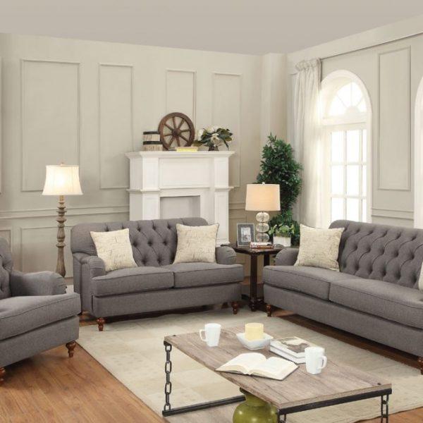 53690, 53691, 53692 alianza gray fabric sofa set