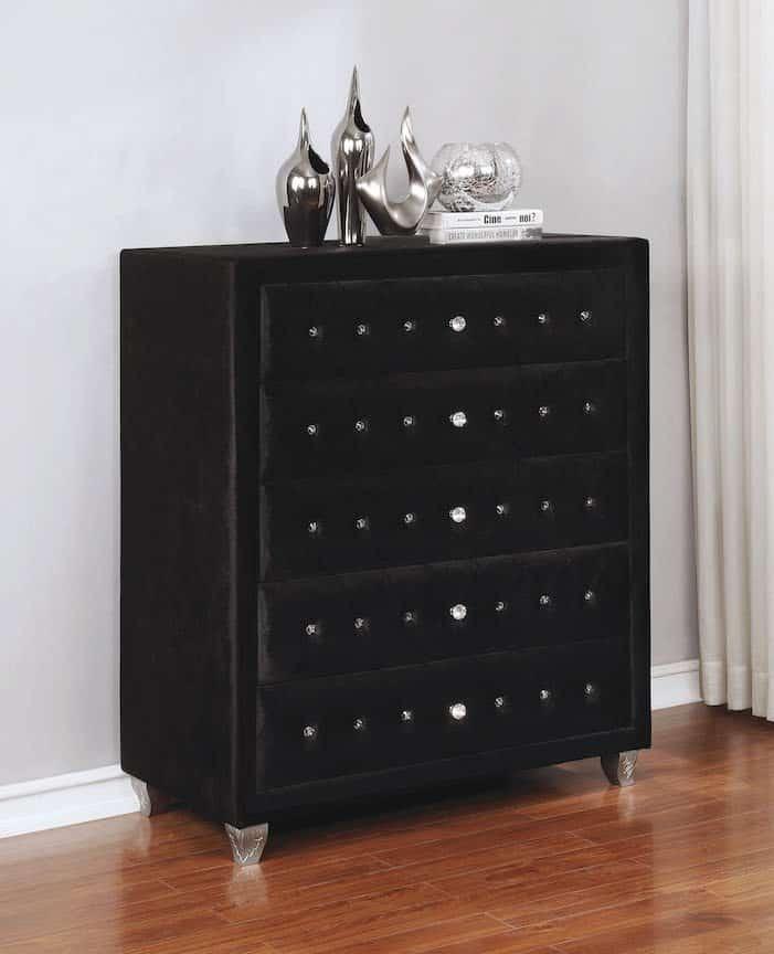 deanna black velvet chest 206105