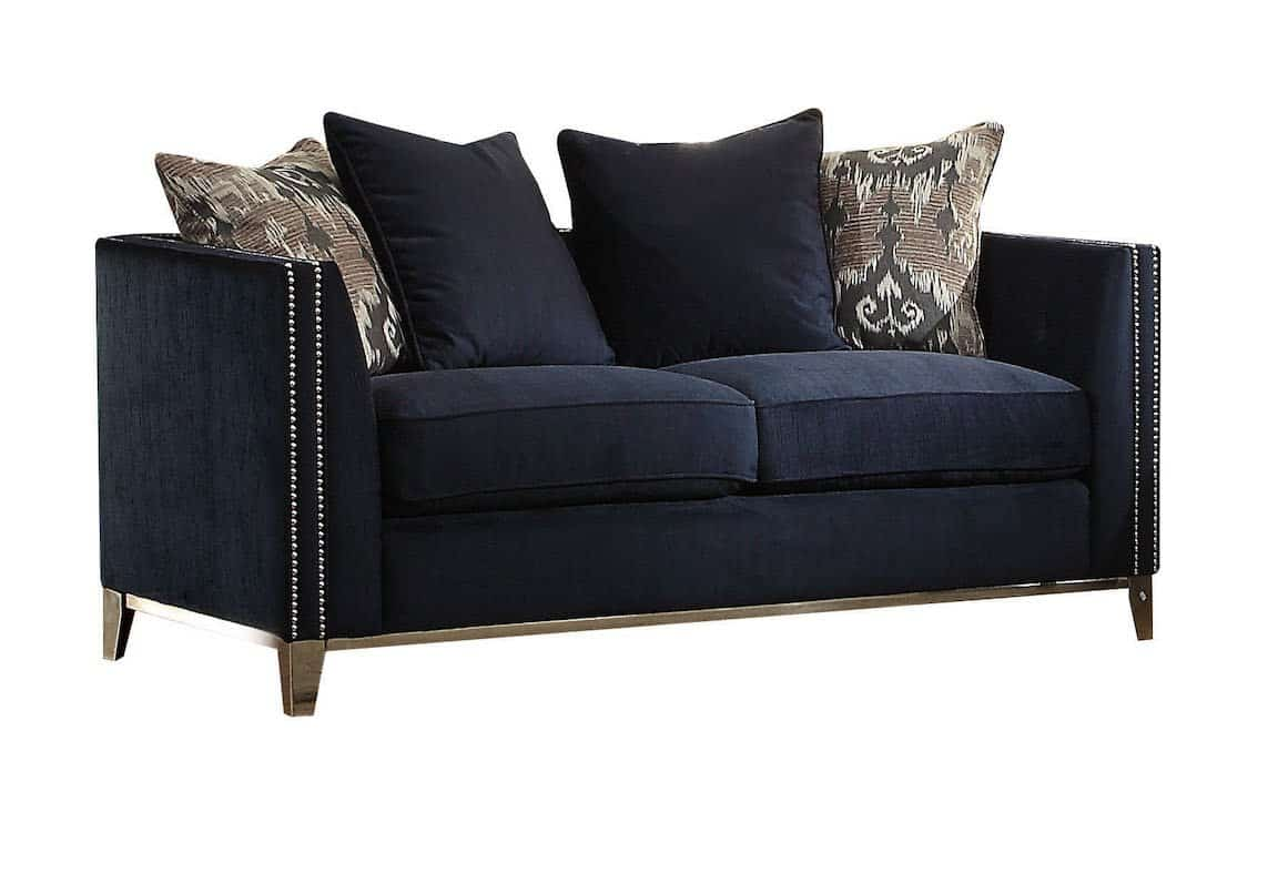 Picture of: Phaedra Navy Blue Fabric Living Room Set Kfrooms