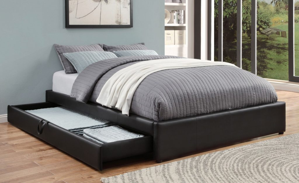 Picture of: Hunter Black Storage Trundle Queen Bed Kfrooms