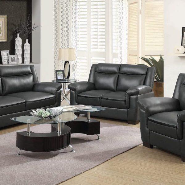 arabella grey leather sofa coaster 506593 506591 506592