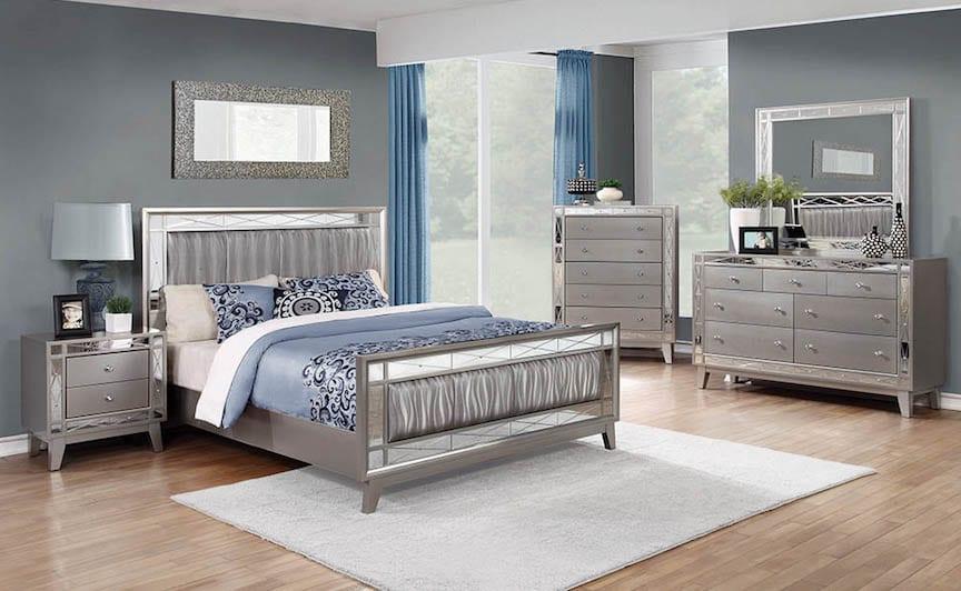 leighton silver mirrored bedroom set  kfrooms