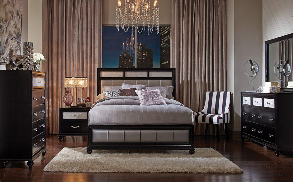 Barzini Black Glam Leatherette Bedroom Set Kfrooms Free Delivery
