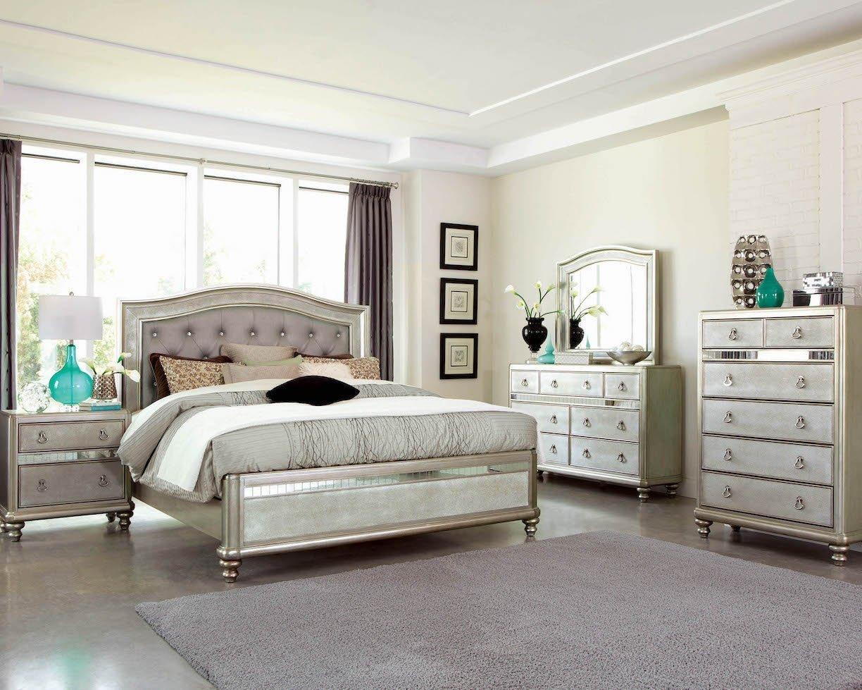platinum leatherette mirrored bedroom set  kfrooms  free