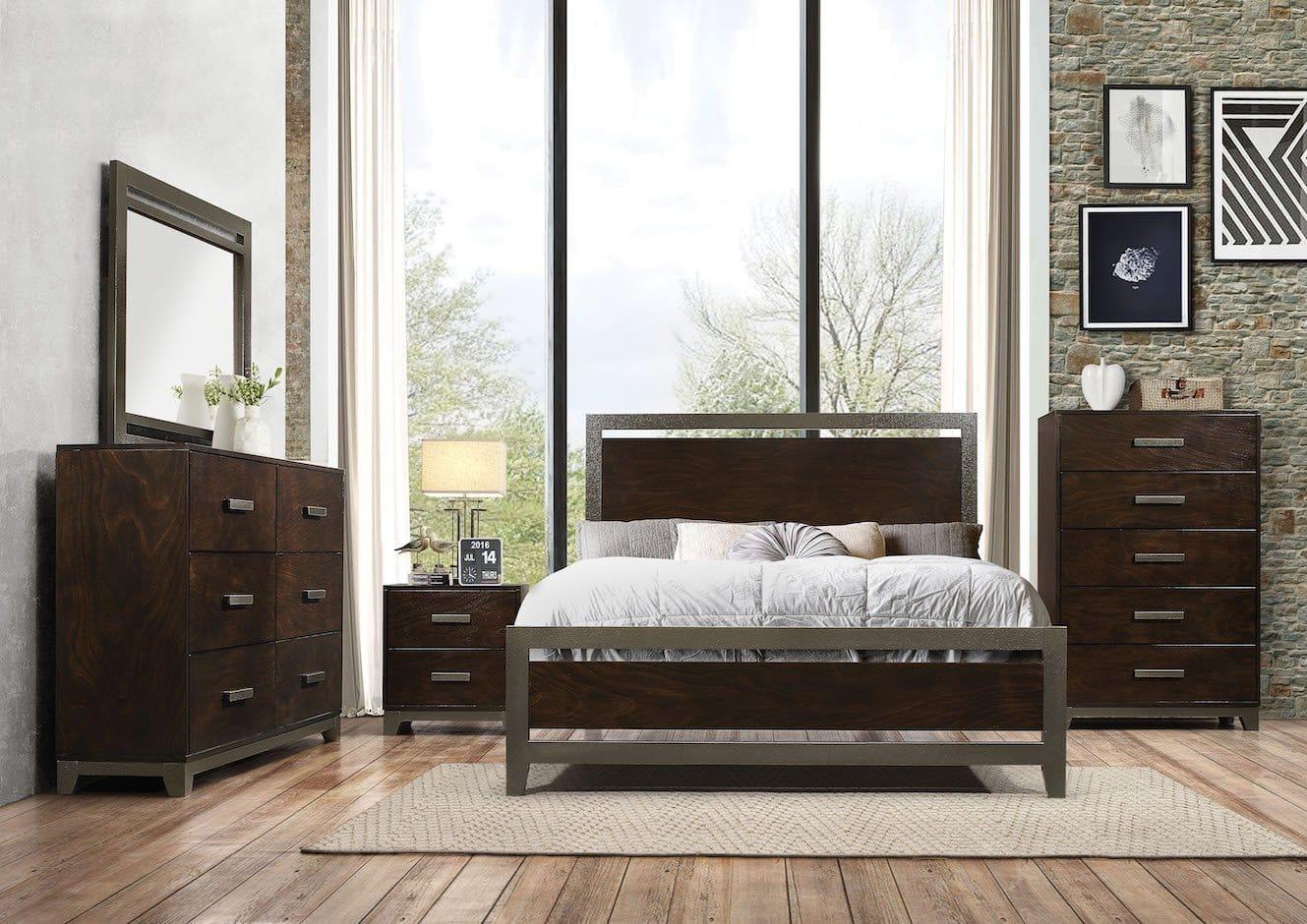 charleen industrial walnut  metal bedroom set  kfrooms