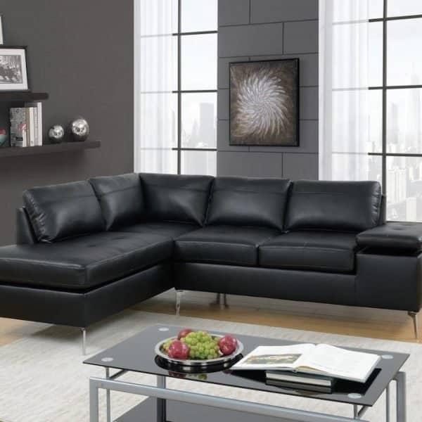 6519 black sectional sofa