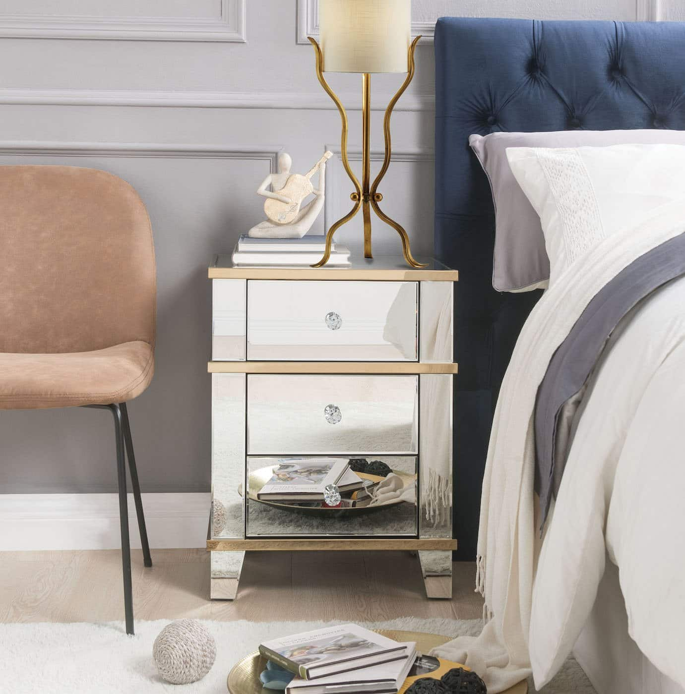 Osma Glam Mirrored End Table Kfrooms Mirrored Gold Nightstand End Table