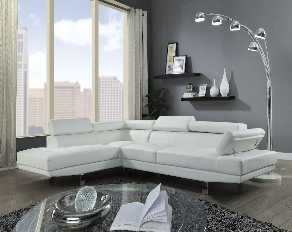 connor cream leather sectional sofa 52645