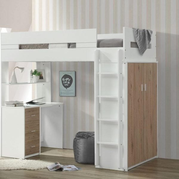 nerice loft bed oak 38055