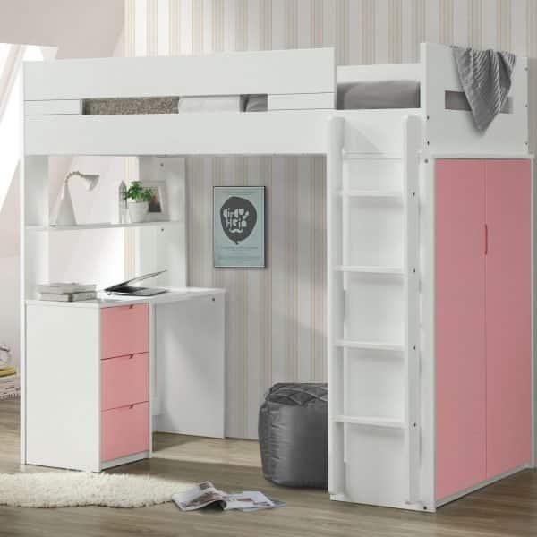 nerice loft bed pink 38040