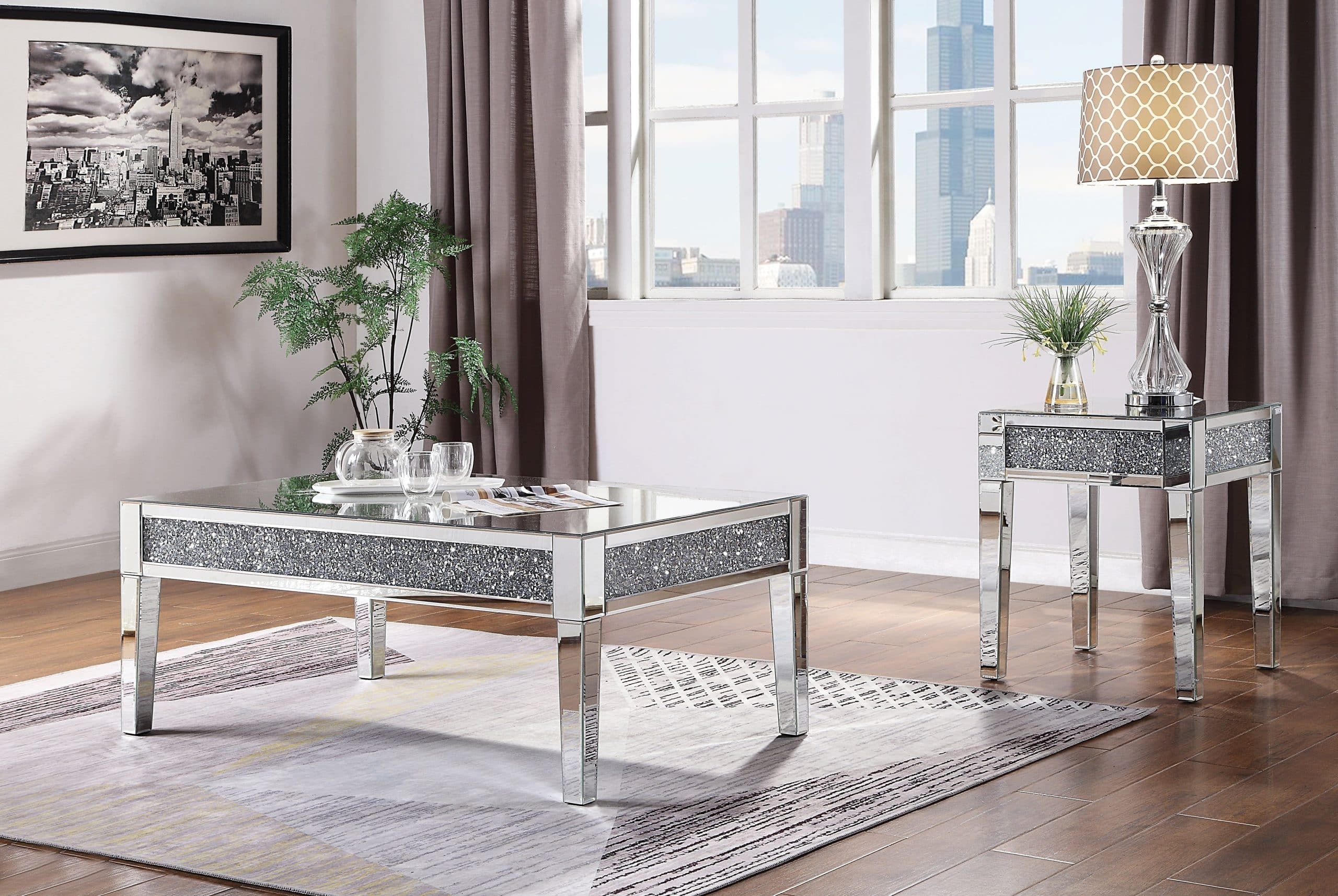 Nysa Mirrored Tables With Crystal Top Kfrooms Mirrored Modern Coffee Table