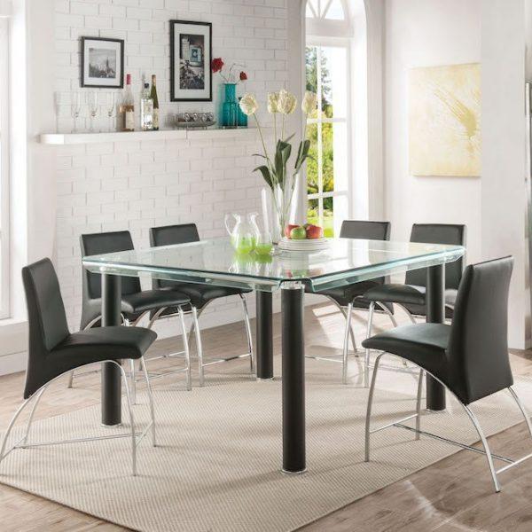 gordie black dining set acme 70255+70258