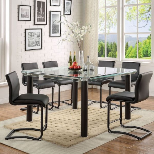 gordie black dining table set acme 70255+70257