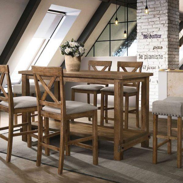 martha weathered oak acme dining set 70830