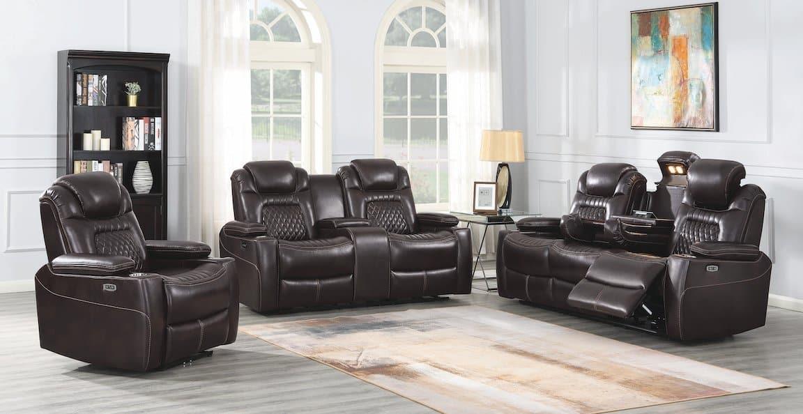 korbach espresso living room set coaster 603411PP-S3