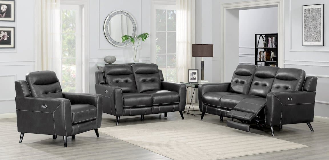 lantana charcoal living room set coaster 603384P-S3