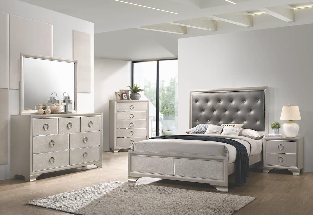 Salford Glam Grey Leather Bedroom Set Kfrooms Silver Bedroom Set