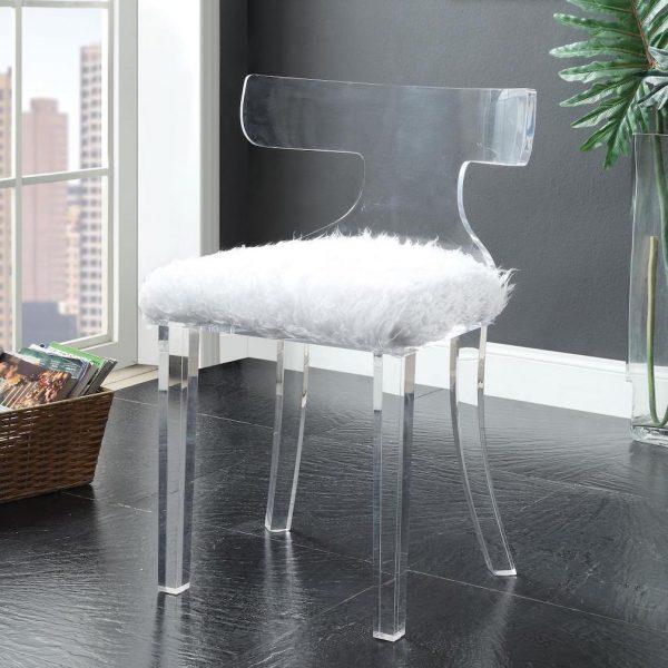 bradley white fur accent chair 59822