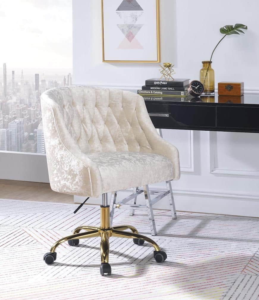 Levian Contemporary Velvet Vintage Office Chair Kfrooms