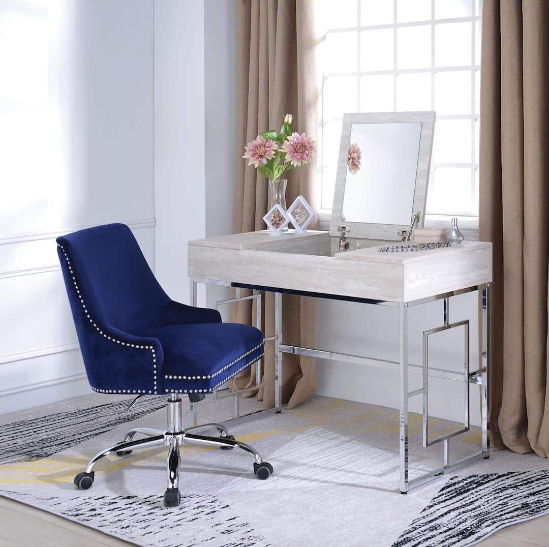 Saffron Vanity Desk With Blue Chair Kfrooms