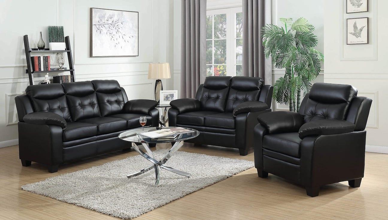 506553 finley black leatherette living room set