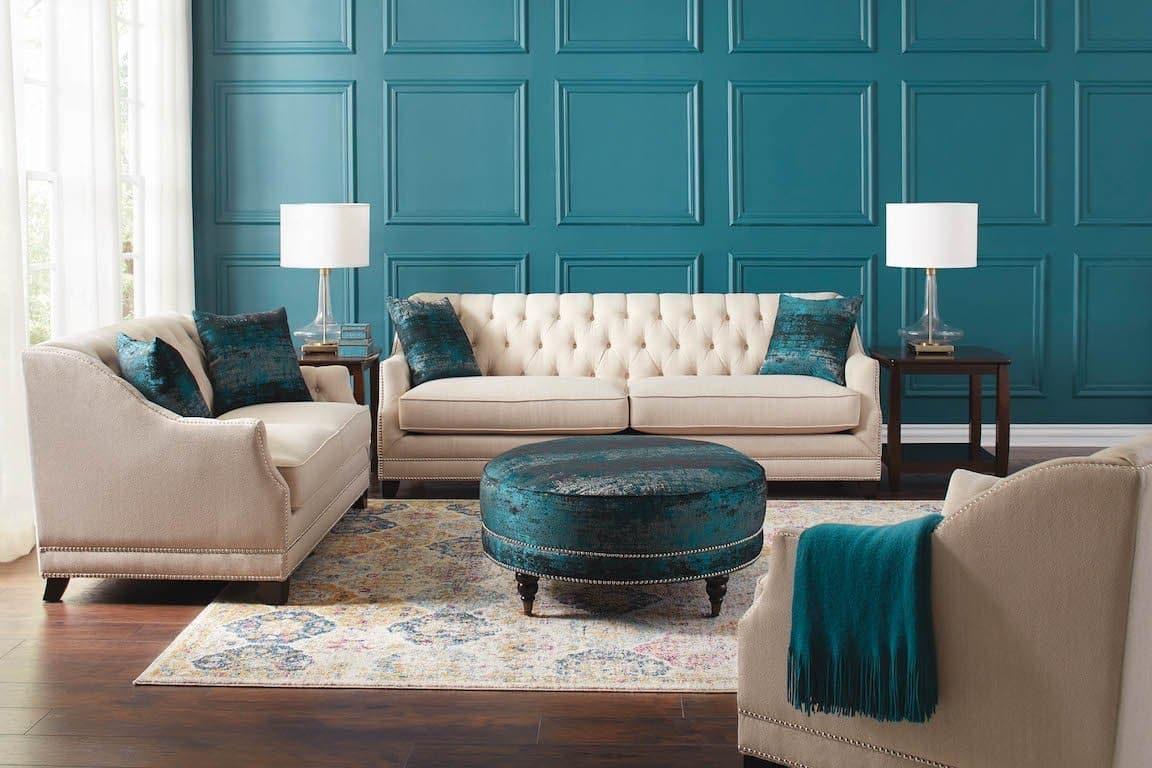 Artemis Beige Contemporary Living Room, Contemporary Living Room Sets