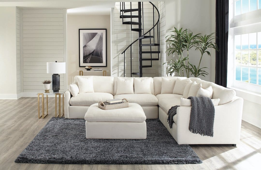 Hobson Off White Upholstered Modular Sectional Kfrooms