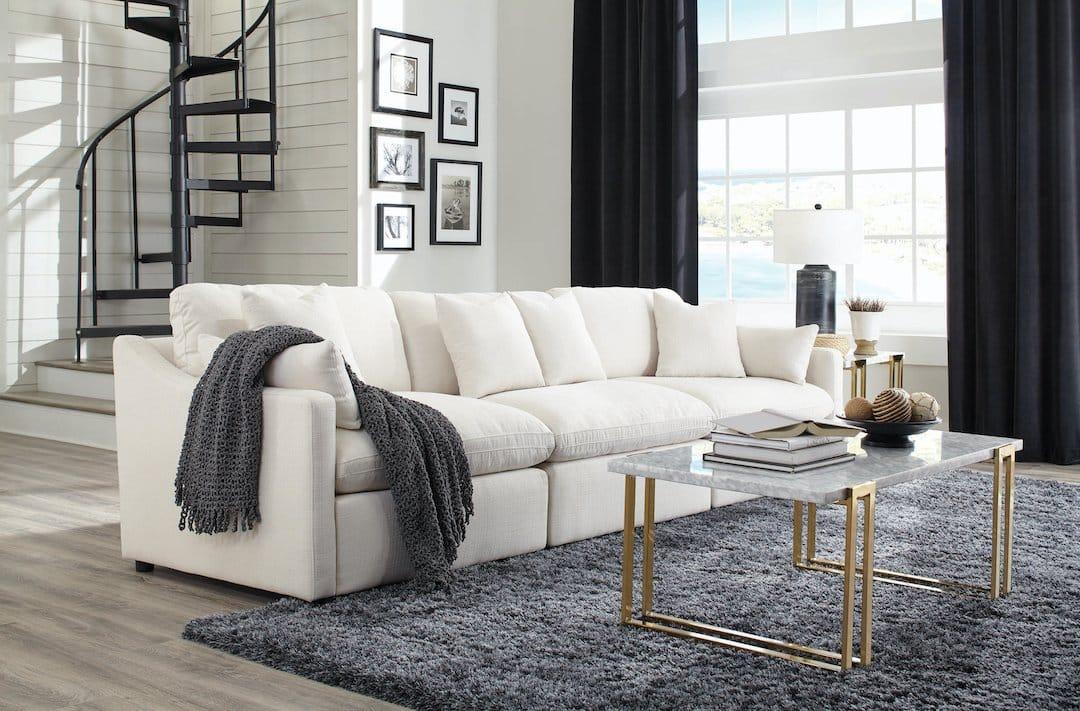 Off White Upholstered Modular Sectional