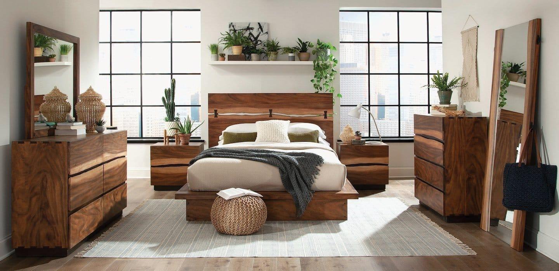 madden natural smokey walnut bedroom set  kfrooms shop
