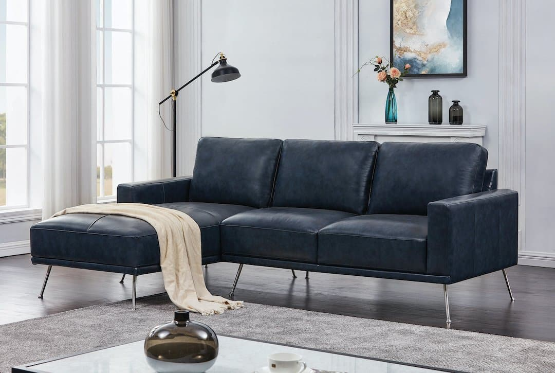 narrot navy blue leather sectional sofa coaster 508800