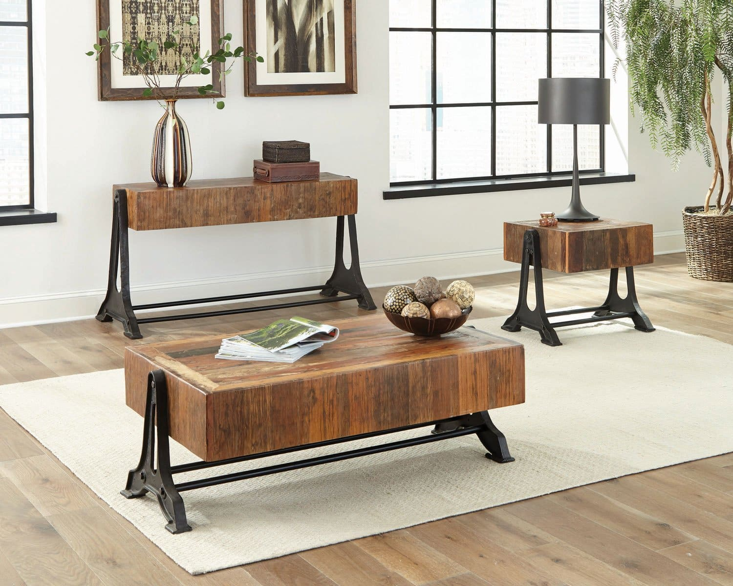 Asherton Industrial Wood Accent Tables, Living Room Tables