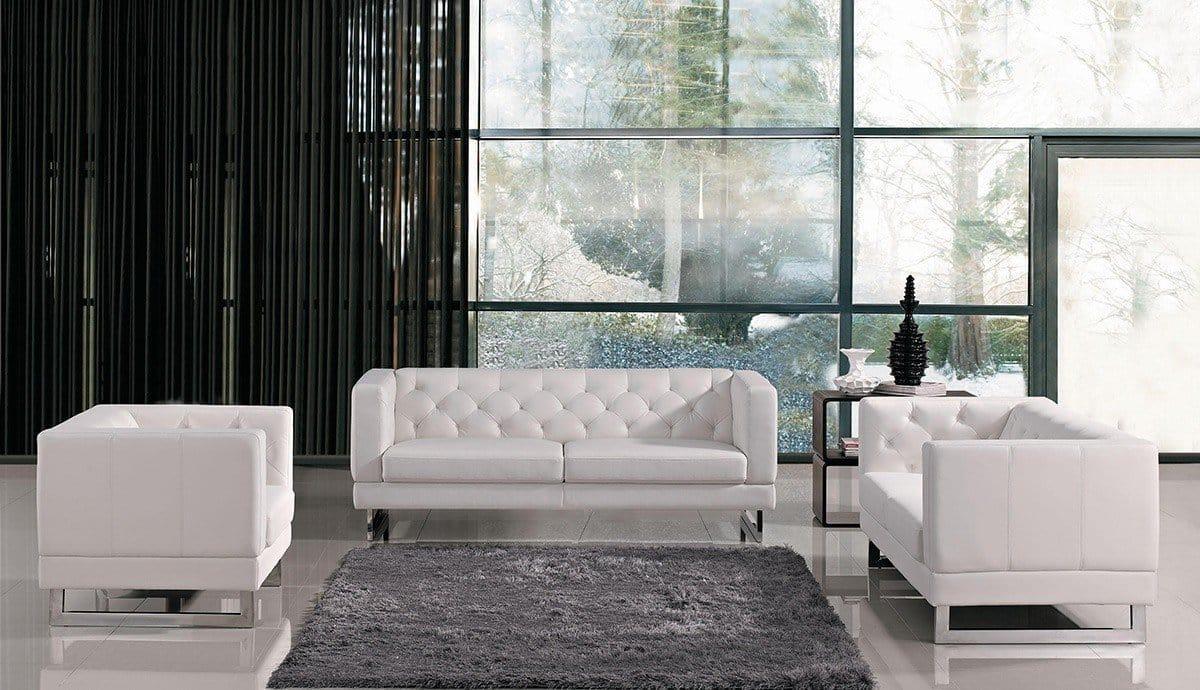 Divani Casa Windsor Modern White 3 Pc Sofa Set Kfrooms Sale