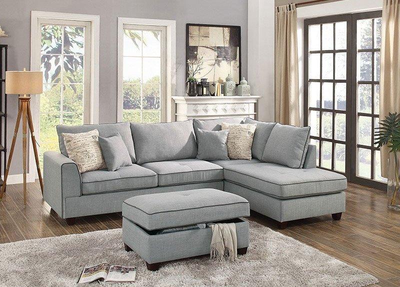 6543-poundex-light-gray-sectional-sofa