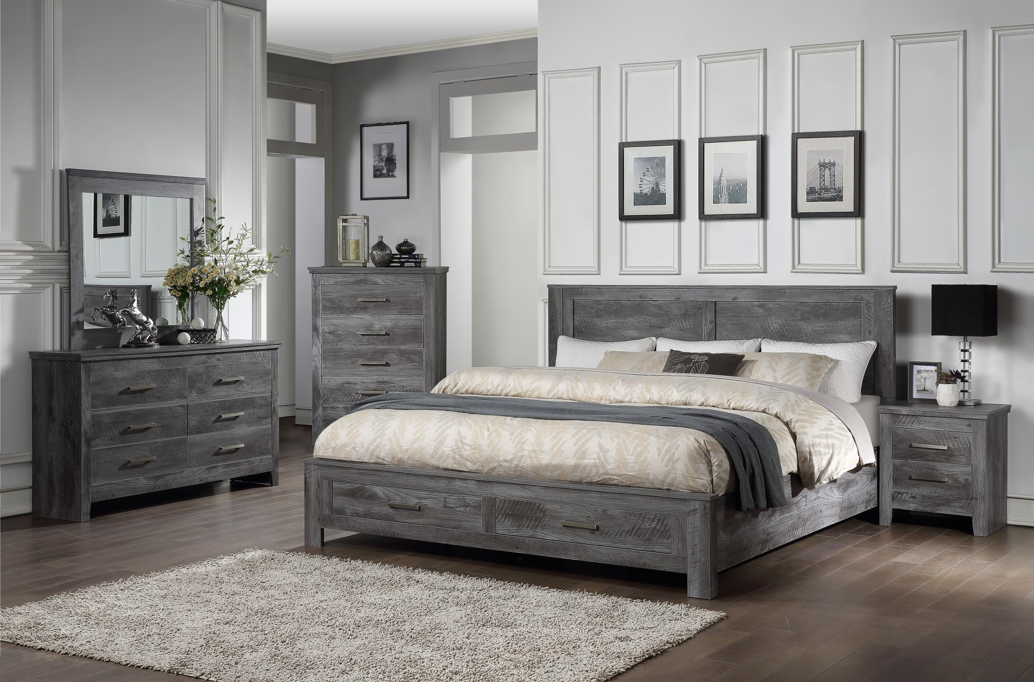 Vidalia Storage Rustic Gray Oak Bedroom Set