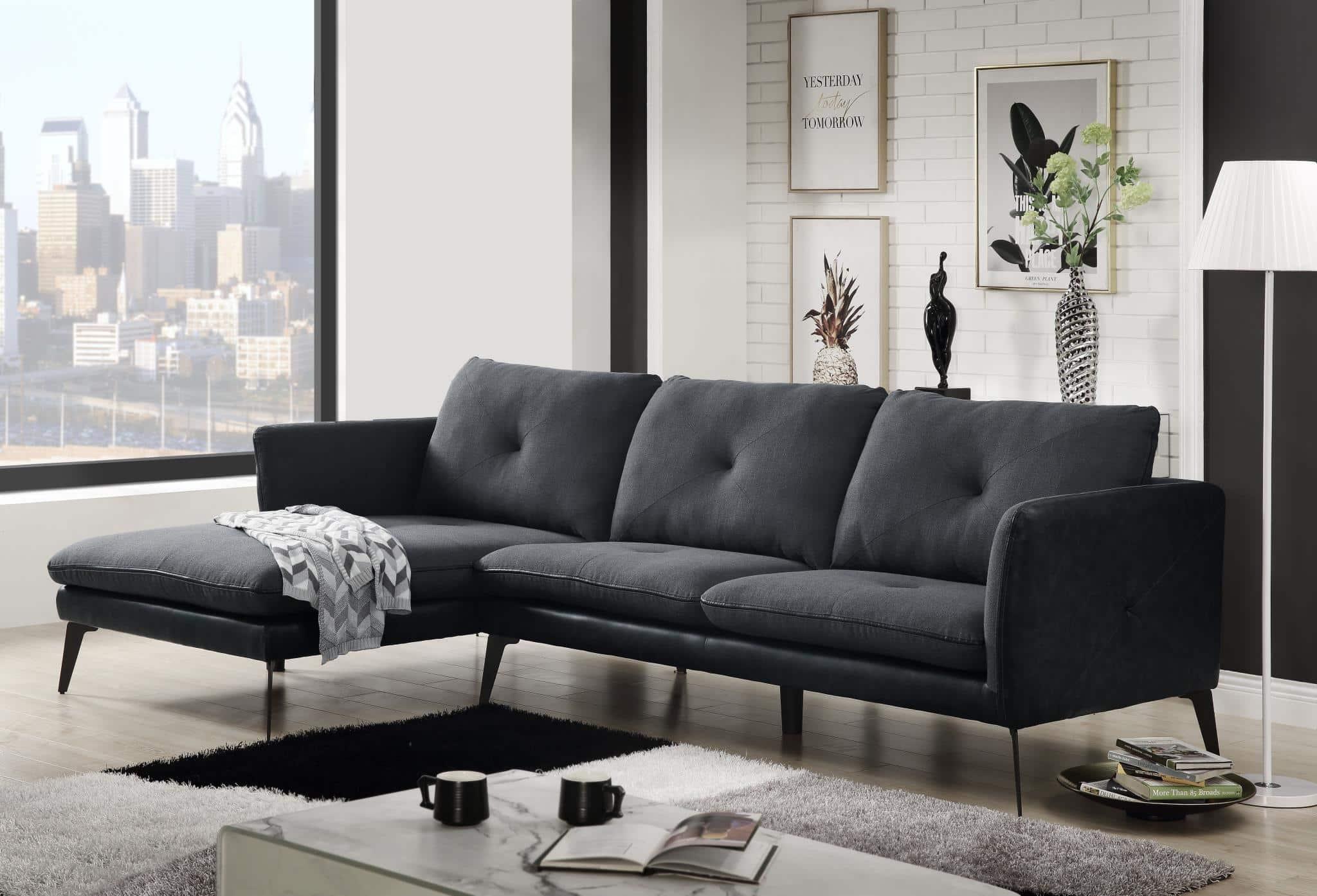 Harun Dark Gray Modern Sectional Sofa Kfrooms Furniture Sale