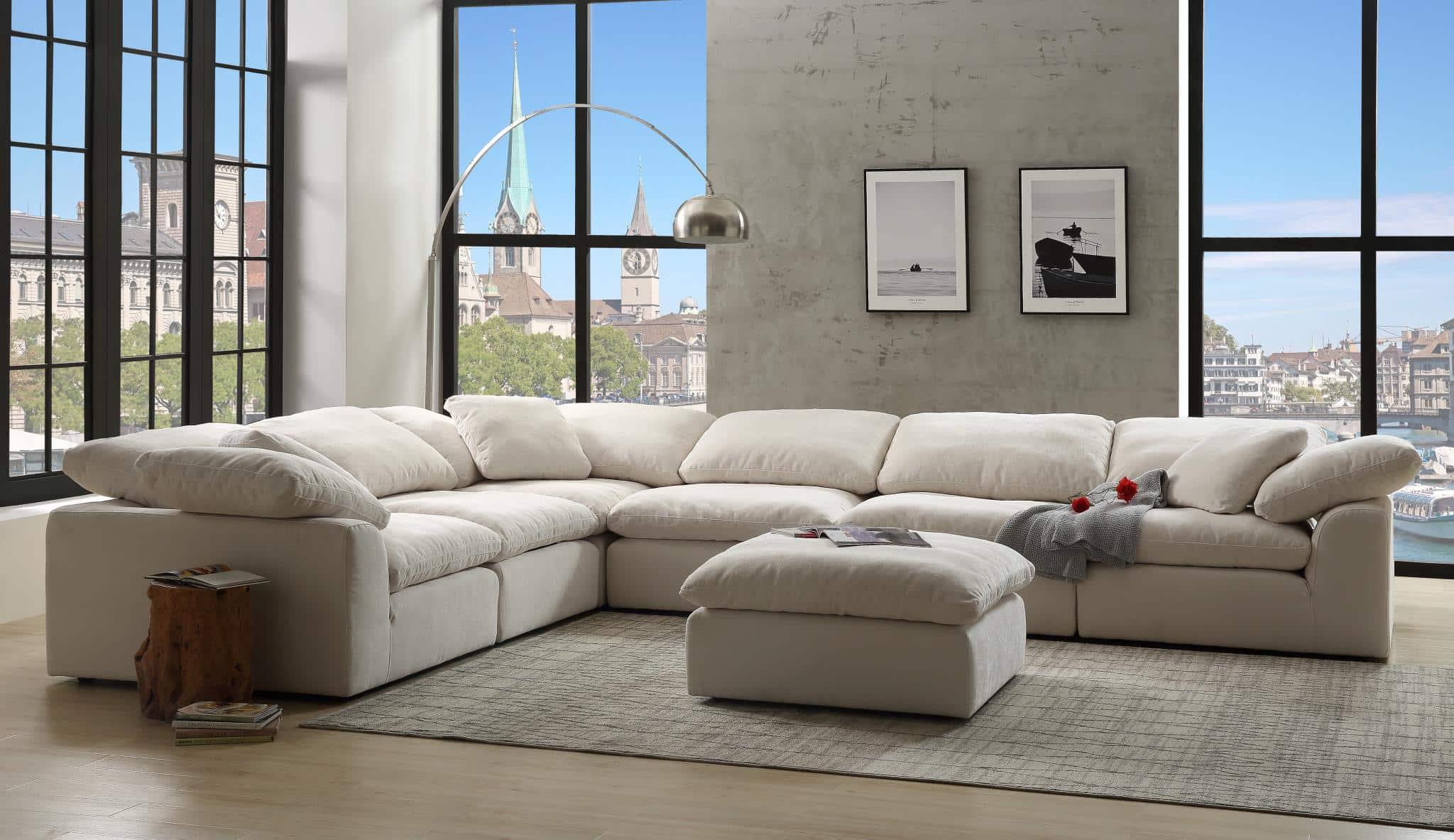 Naveen Ivory Linen Modular Sectional Sofa   KFROOMS