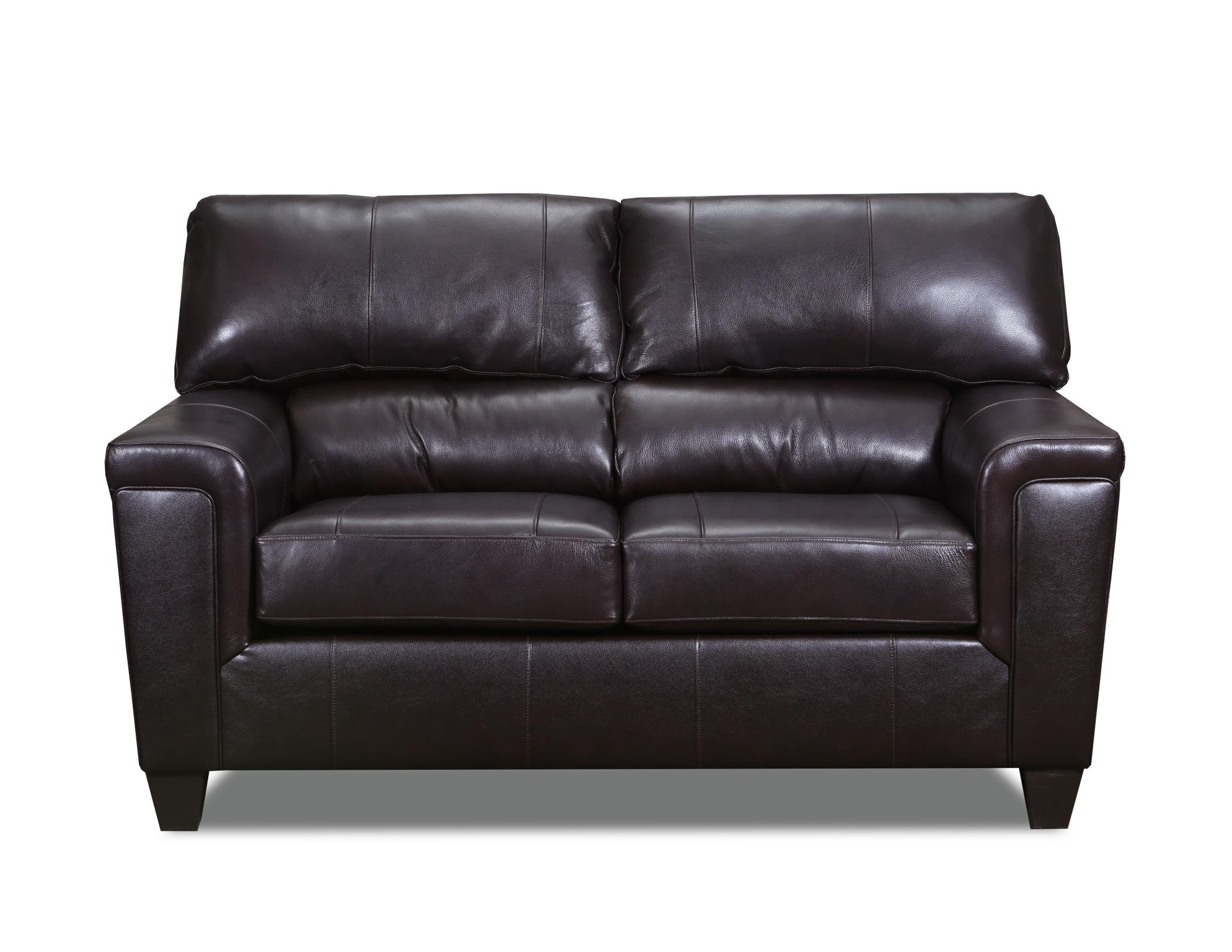 55766 phygia espresso brown leather loveseat