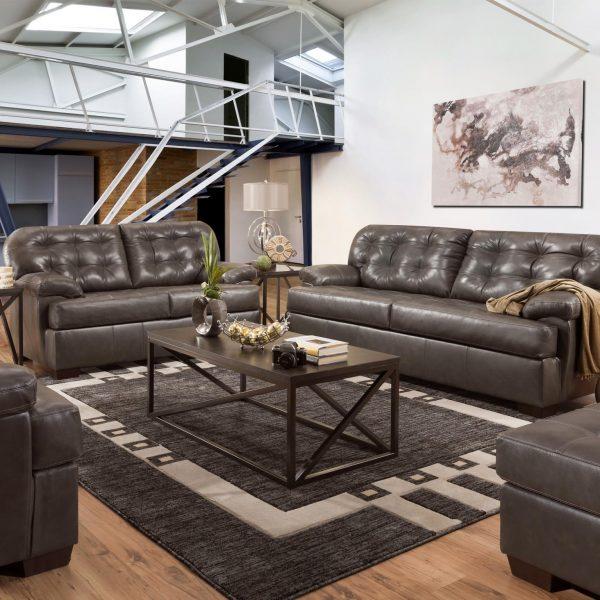 55770 gray leather saturio sofa