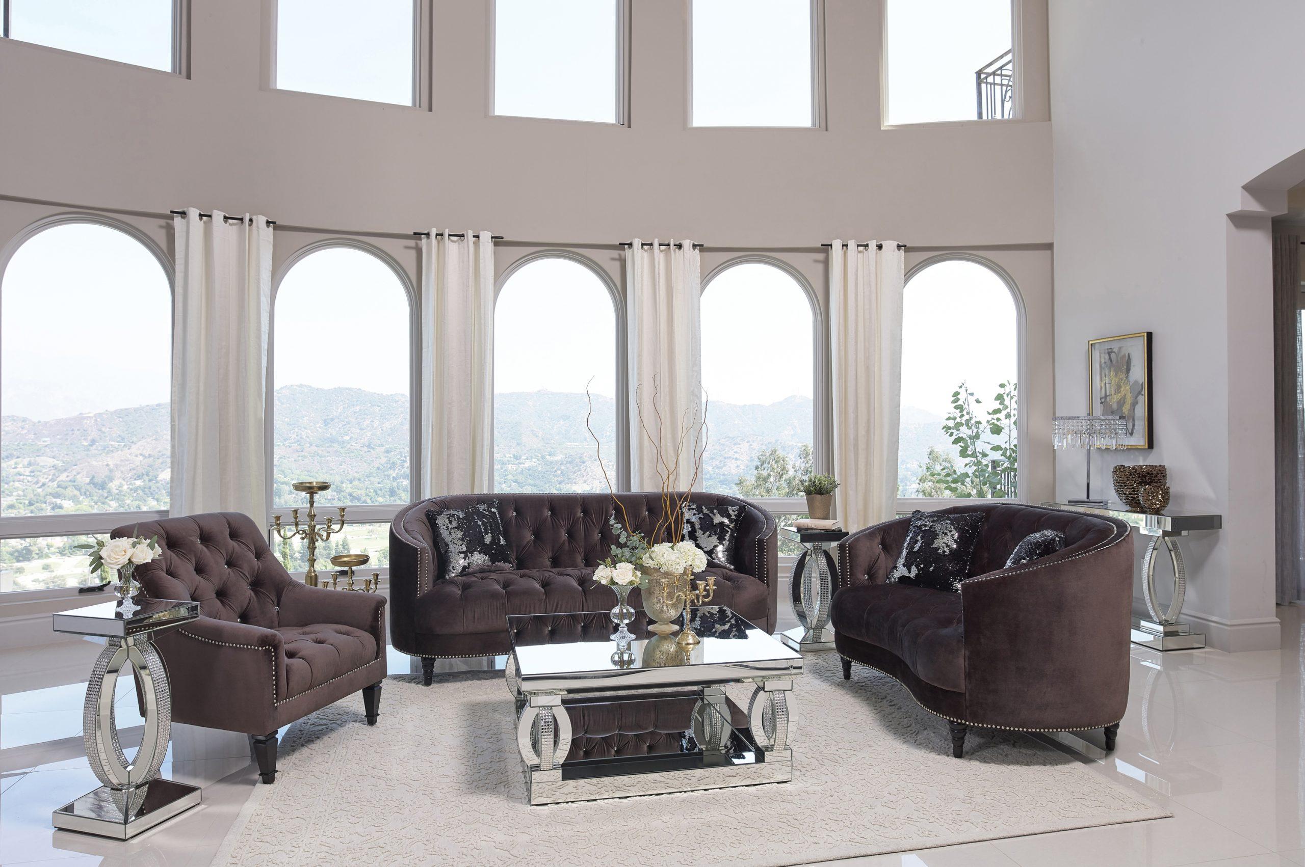 Avonlea Brown Velvet Sofa Set   KFROOMS   Shop Online   Sale