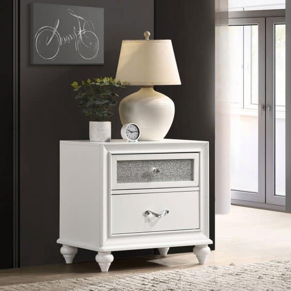 Barzini white nightstand 205892