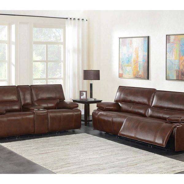 Southwick brown leather sofa set 610411P