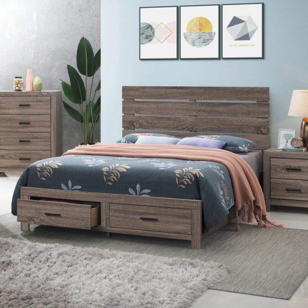 207040Q Brantford storage oak wood bed