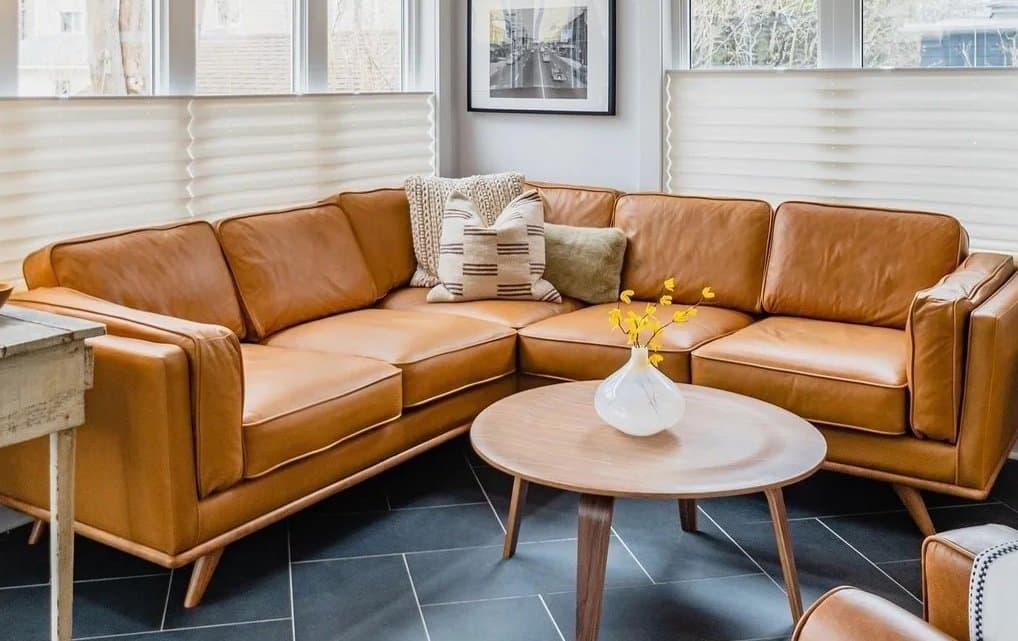 Macadamia Cognac Leather Sectional Sofa
