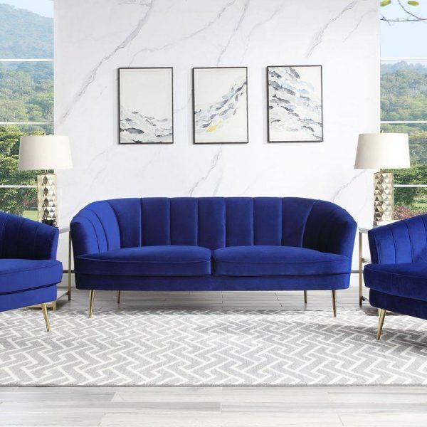 Eivor blue velvet sofa set
