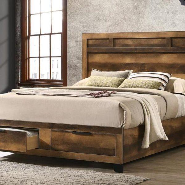Morales Rustic Wood Storage Bed