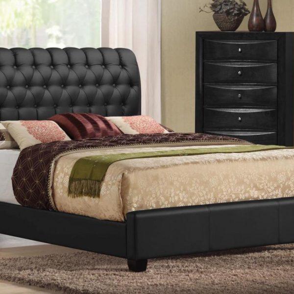Ireland tufted black leather bed
